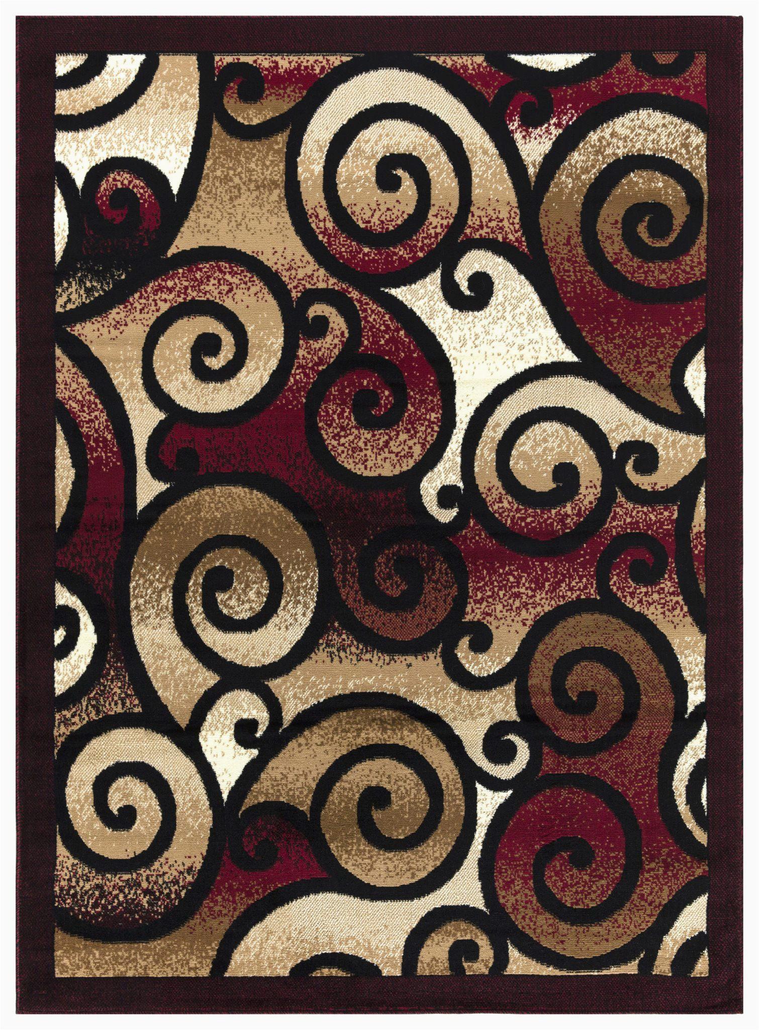 princess collection geometric swirl abstract area rug 806 burgundy black
