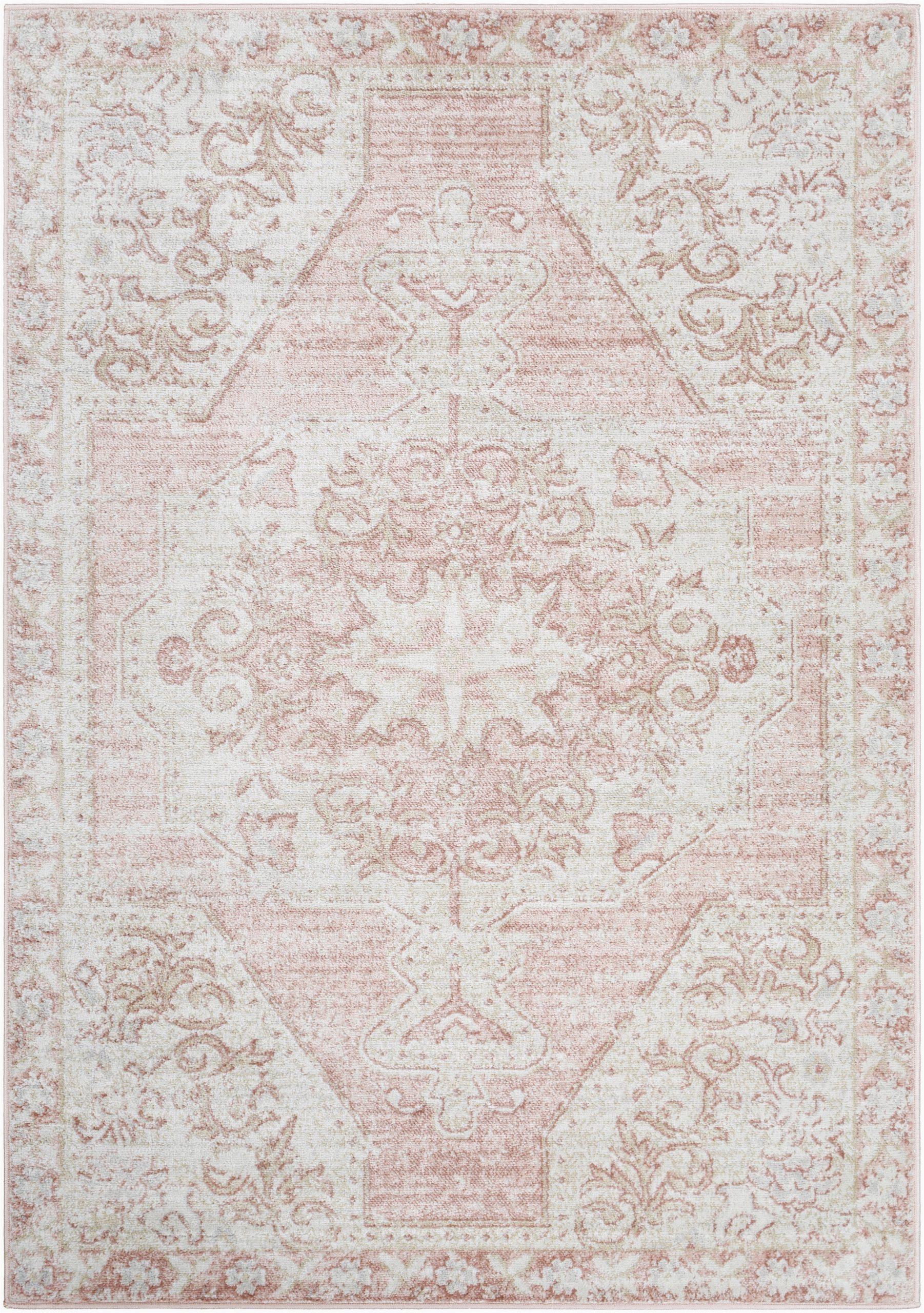 blithe oriental pinkwhite area rug