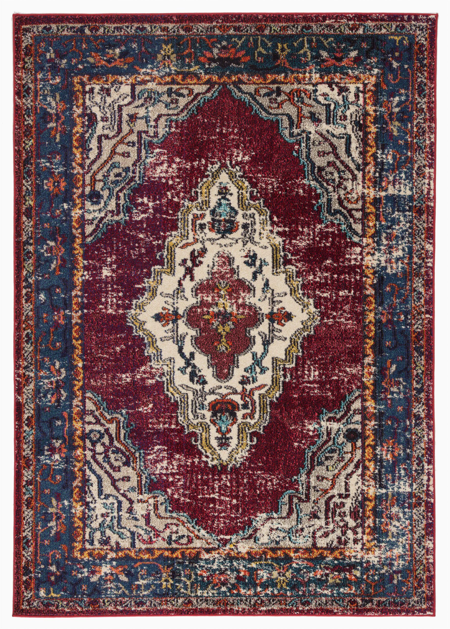 avianna persian inspired medallion maroonbluebrown area rug