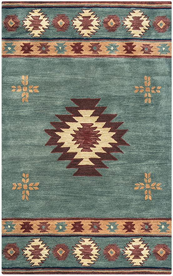 """Burgundy and Blue area Rugs Rizzy Home Collection Wool area Rug 2 6"""" X 10 Gray Blue Rust Burgundy Tan Khaki southwest Tribal"""