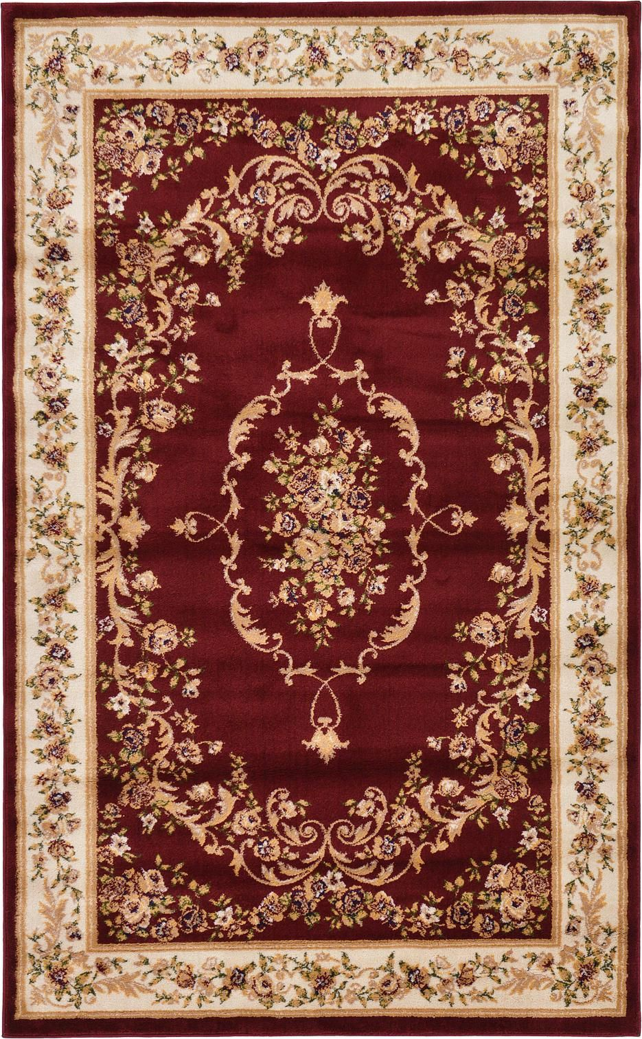 Burgundy and Cream area Rugs Burgundy 5 X 8 Classic Aubusson Rug