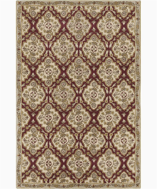 Burgundy and Cream area Rugs Jethro Hand Tufted Wool Cream Burgundy area Rug