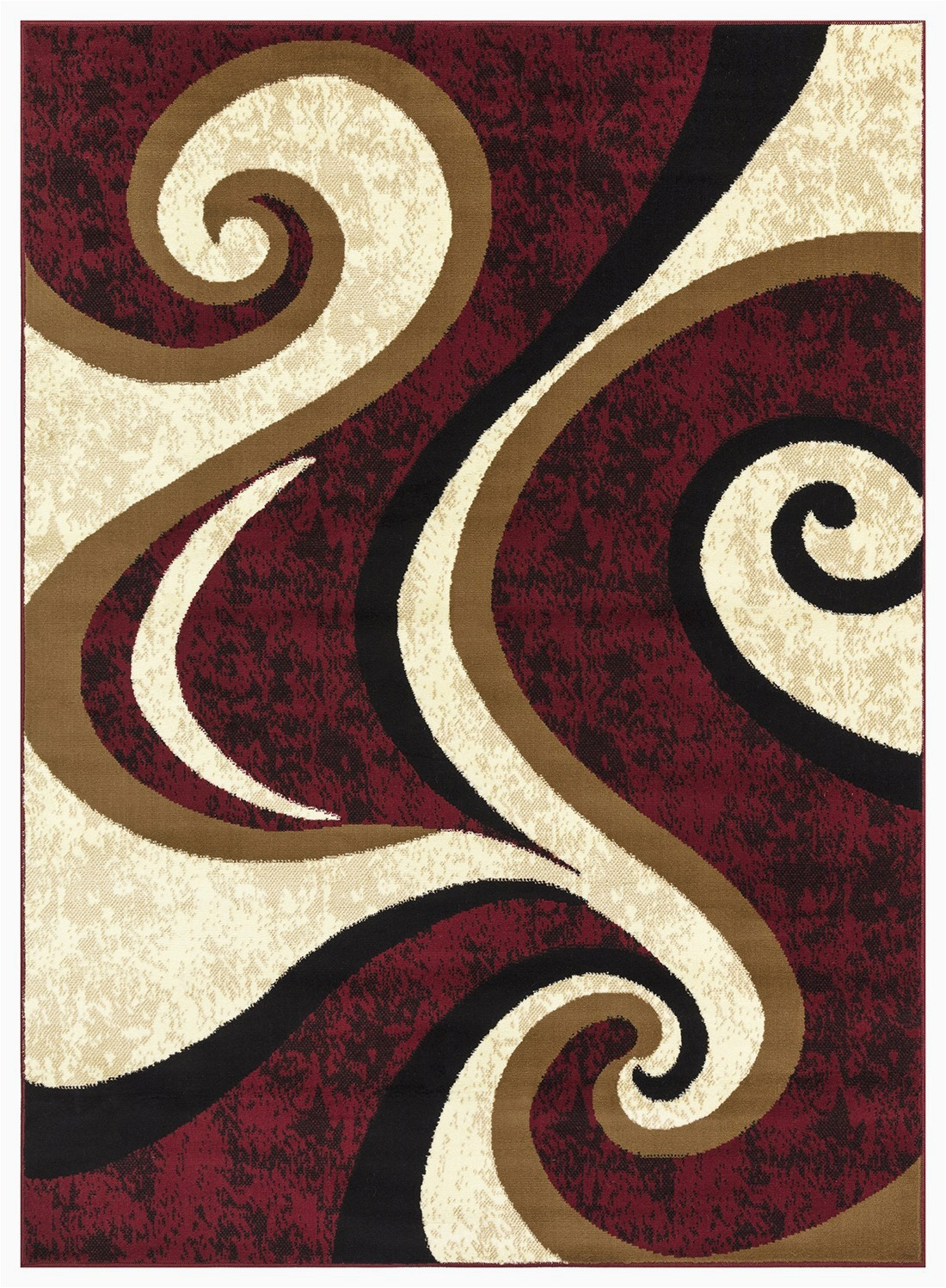 Burgundy and Cream area Rugs Princess Collection Geometric Swirl Abstract area Rug 808 Cream & Burgundy – Beverly Rug
