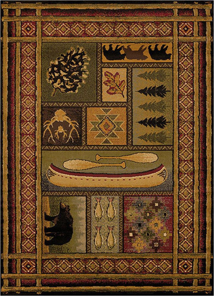 Cabin area Rugs for Sale Bear Canoe Antlers Fish southwestern Cabin Lodge area Rug
