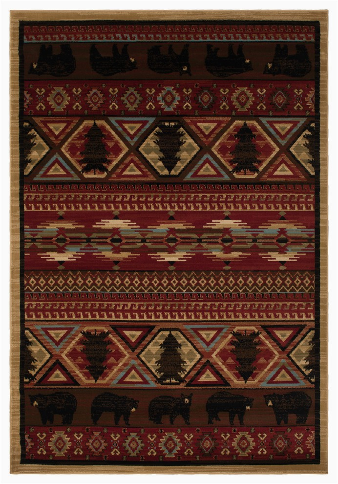 "Cabin area Rugs for Sale Lodge King Red Pine Rustic southwest area Rug 7 10""x9 10"""
