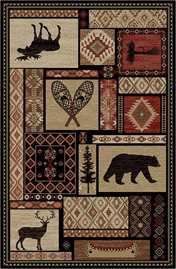 "Cabin area Rugs for Sale Rustic Lodge Bear Moose Deer Panel 5×8 Red area Rug 5 3""x7 7"" 6913"
