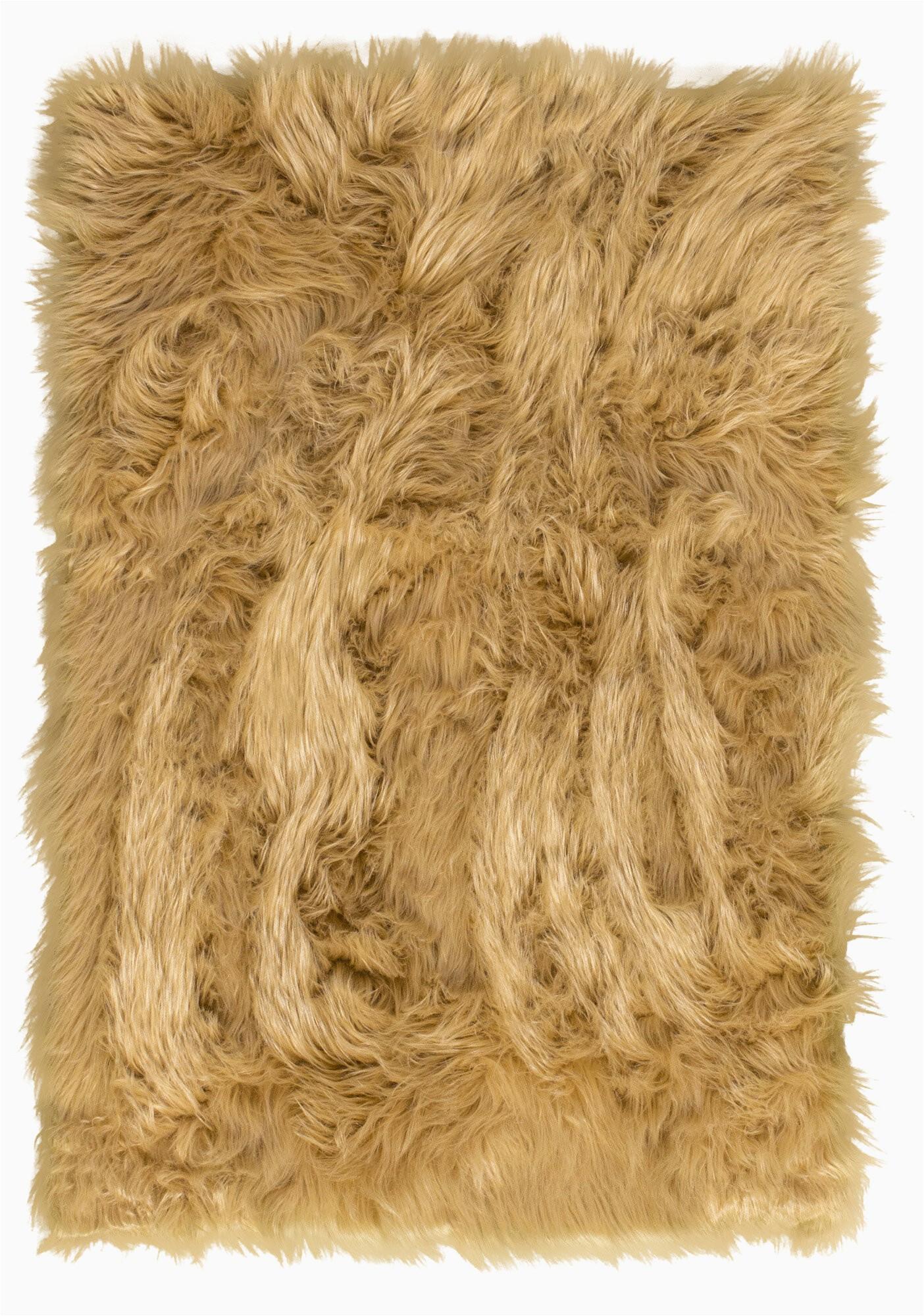 Cheap Faux Fur area Rugs Charlotte Faux Fur Light Brown area Rug