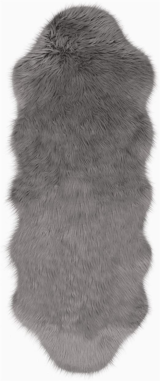 Cheap Faux Fur area Rugs Jean Pierre Faux Fur 22 X 60 In Runner area Rug Dark Grey