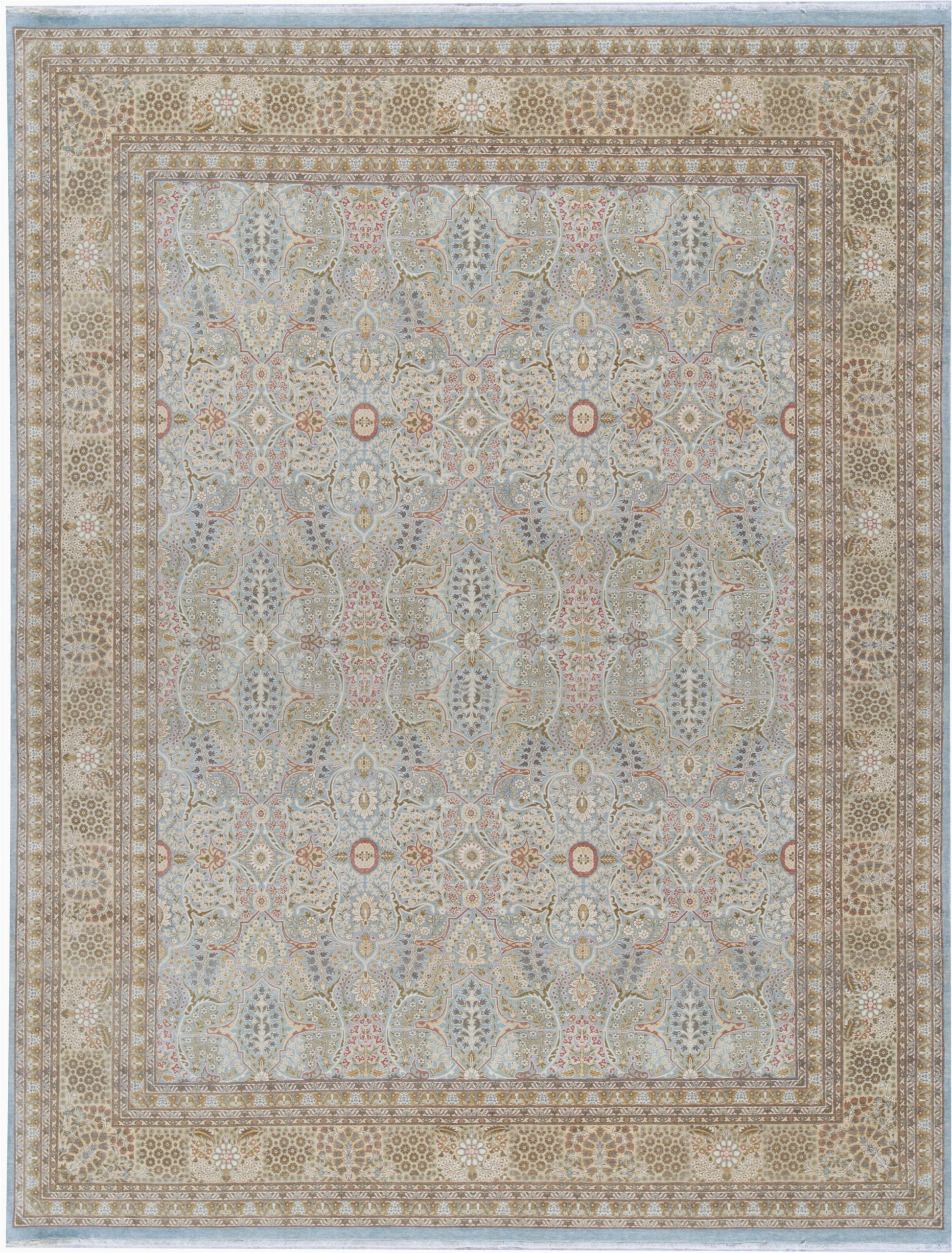 Cream and Light Blue Rug oriental Hand Knotted Wool Light Blue Cream area Rug