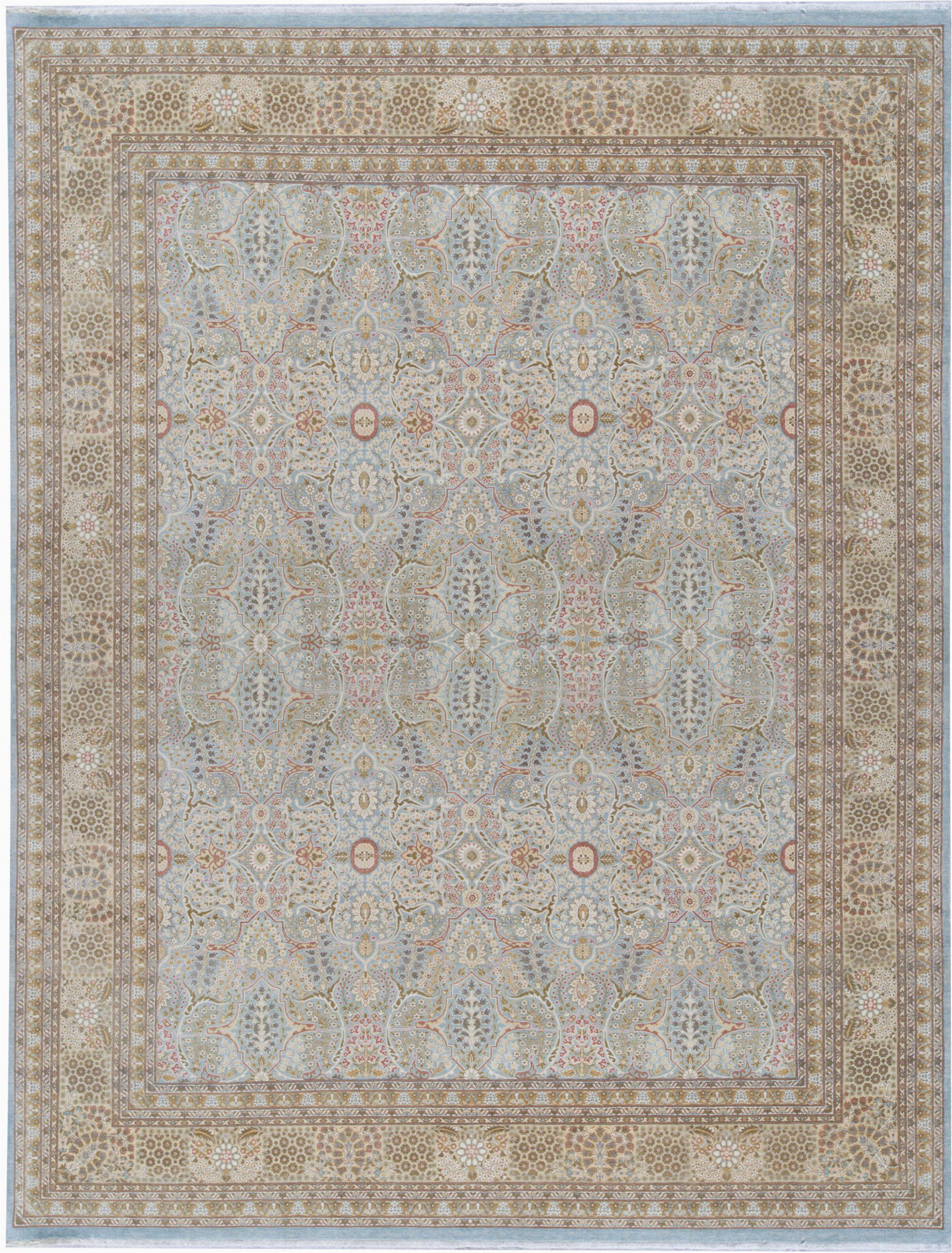 oriental hand knotted wool light bluecream area rug