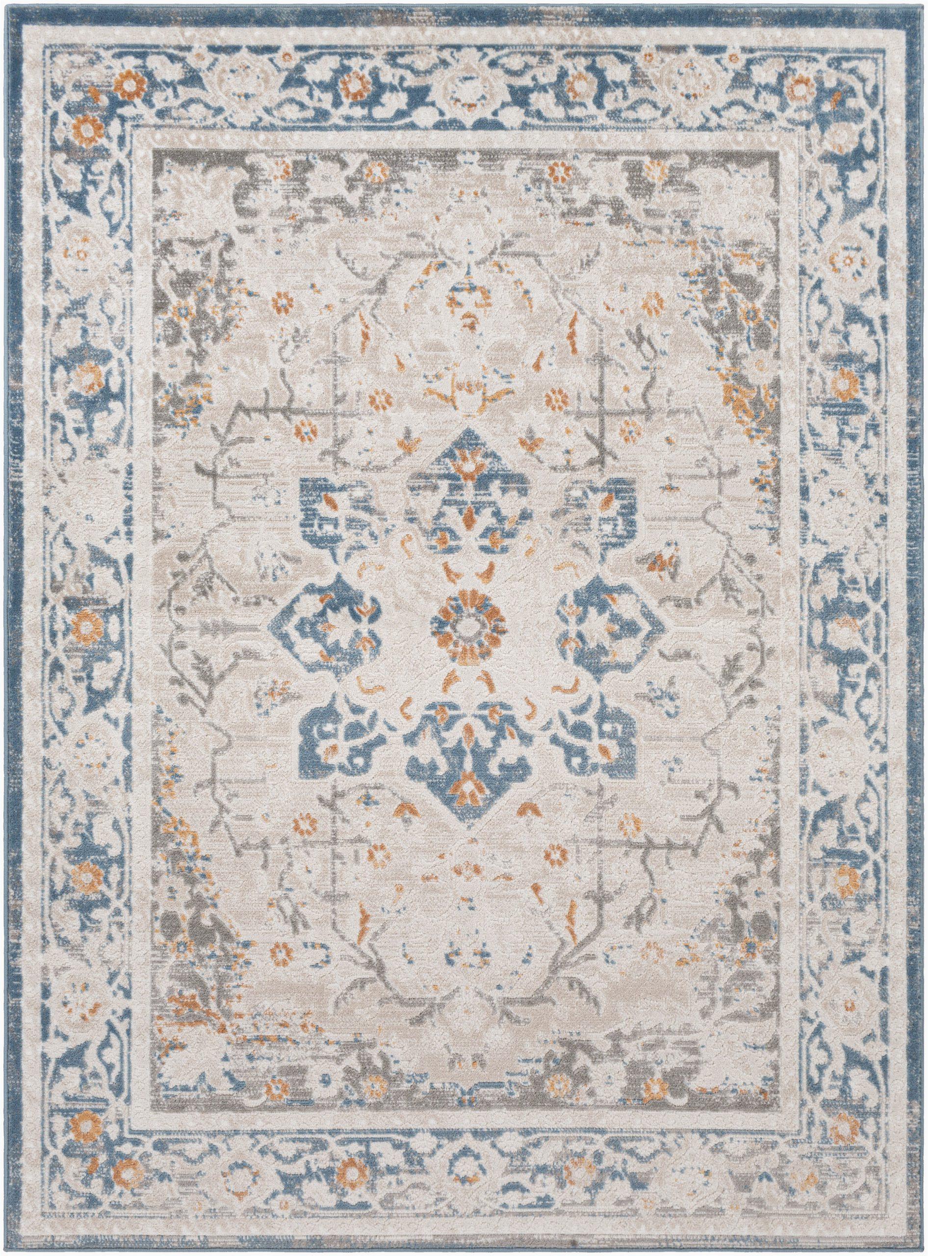 acadia floral creamnavy area rug