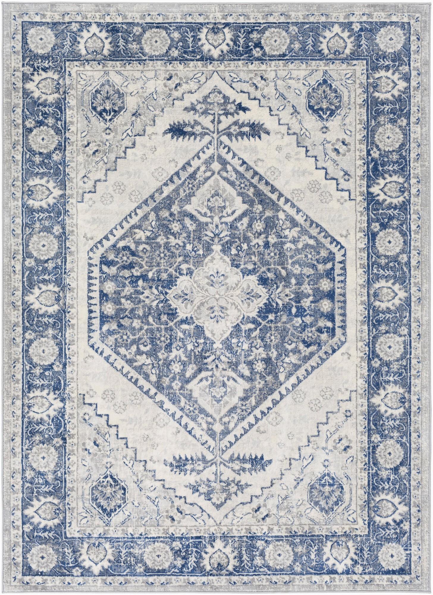 swaney power loom navycream rug