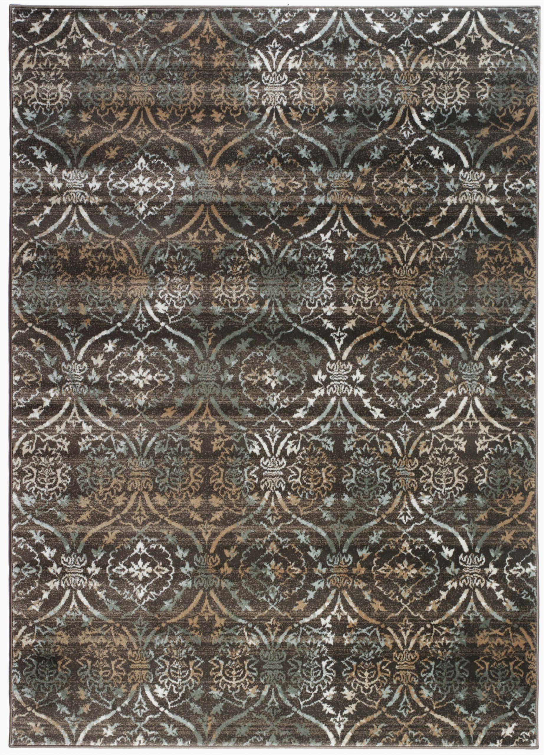 bartley geometric dark brown area rug