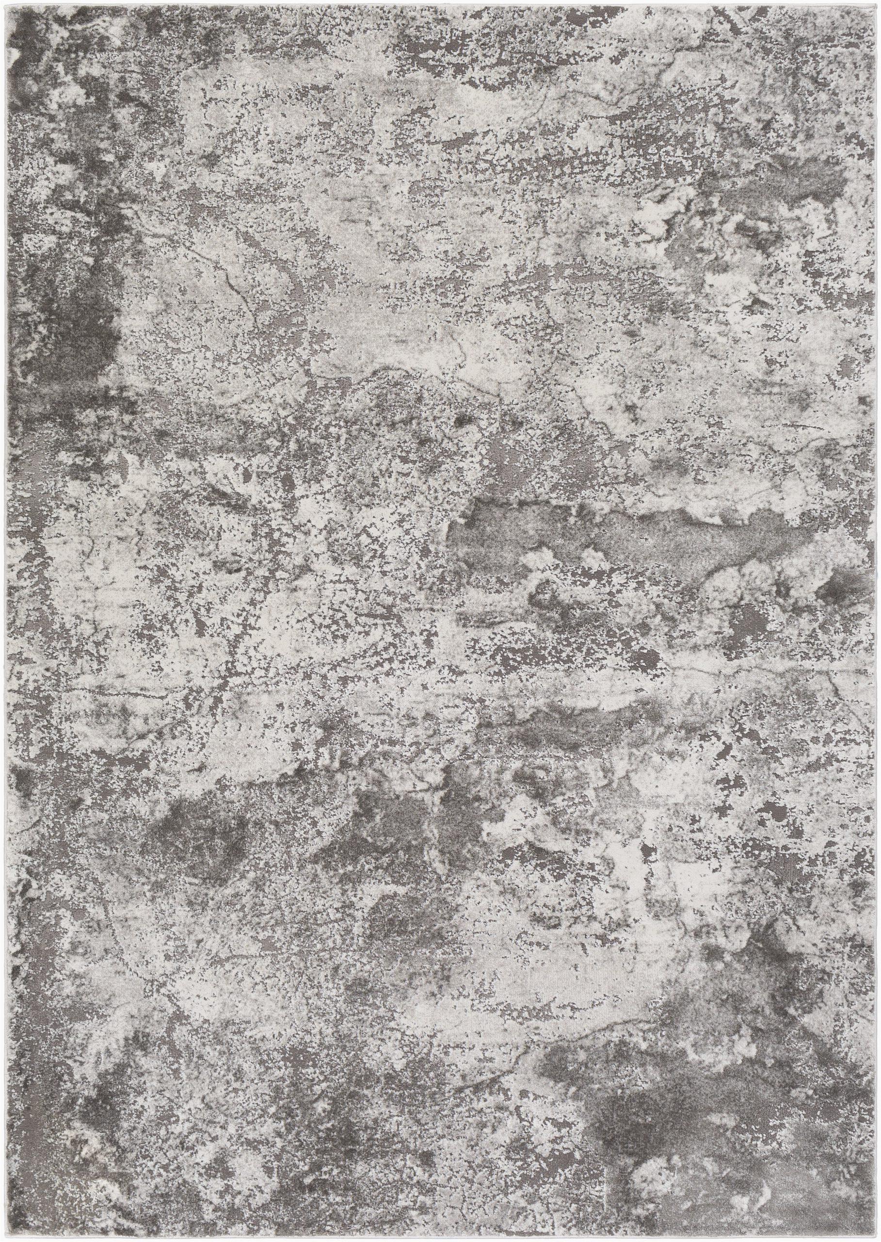brid on abstract dark gray area rug