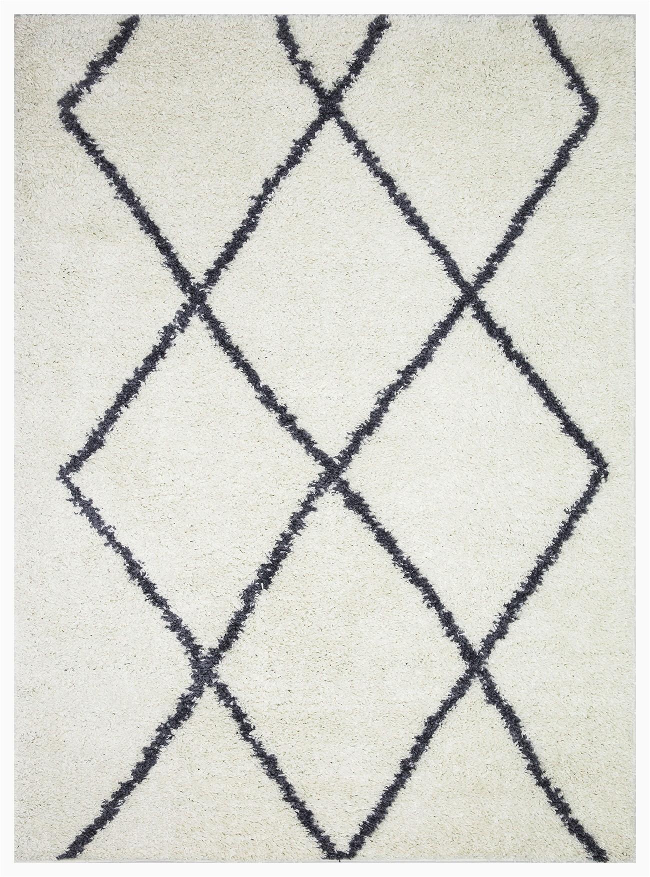 vienna collection modern geometric shaggy area rug g2927 white dark grey