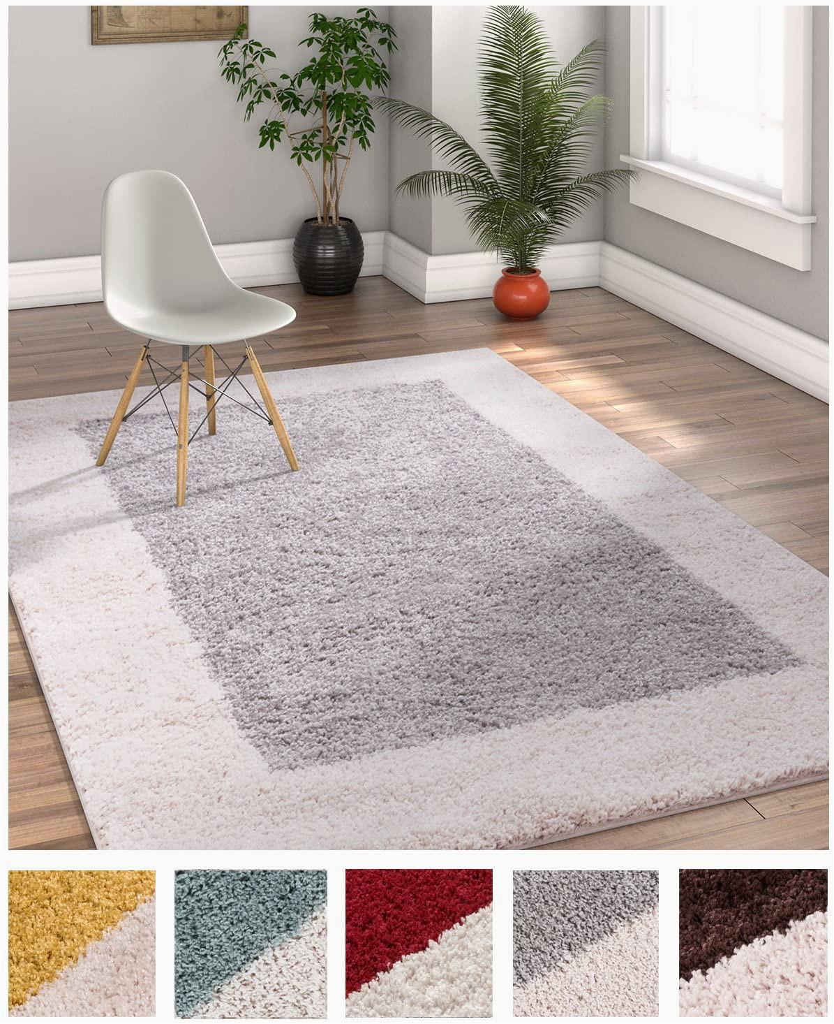 Dark Grey area Rug 5×7 Porta Border Modern Geometric Shag 5×7 5 X 7 2 area Rug Greybeige Plush Easy Care Thick soft Plush Living Room