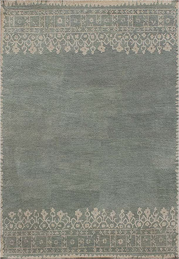 Desa Bordered Wool Rug Blue Buy Rugsville Aubin Modern Gray Bordered Hand Tufted Wool
