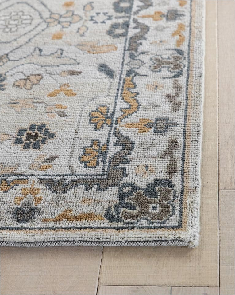 Desa Bordered Wool Rug Blue Kasuri Hand Knotted Rug In 2020