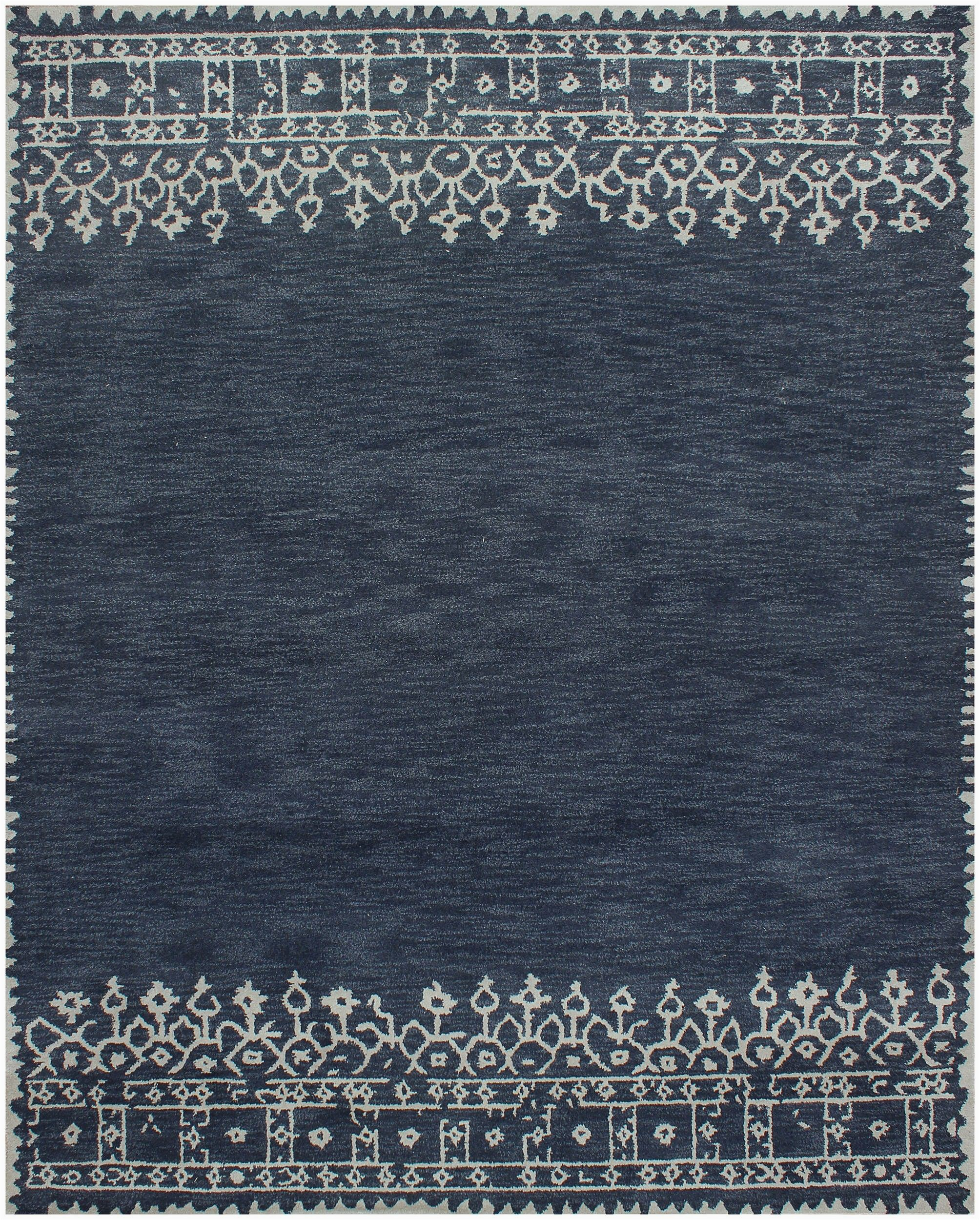 Desa Bordered Wool Rug Blue Rugsville Desa Bordered Wool Indigo Blue Rug 8×10