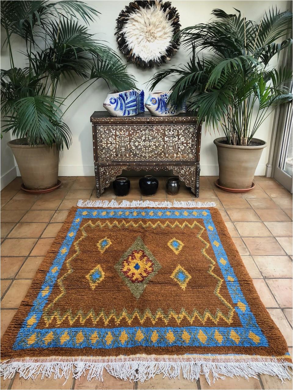 Diamond Scroll Blue Rug Burnt orange Bronze Moroccan Rug Vintage Carpet Diamond Motif Sky Blue Bordered Rug Semi Square Size