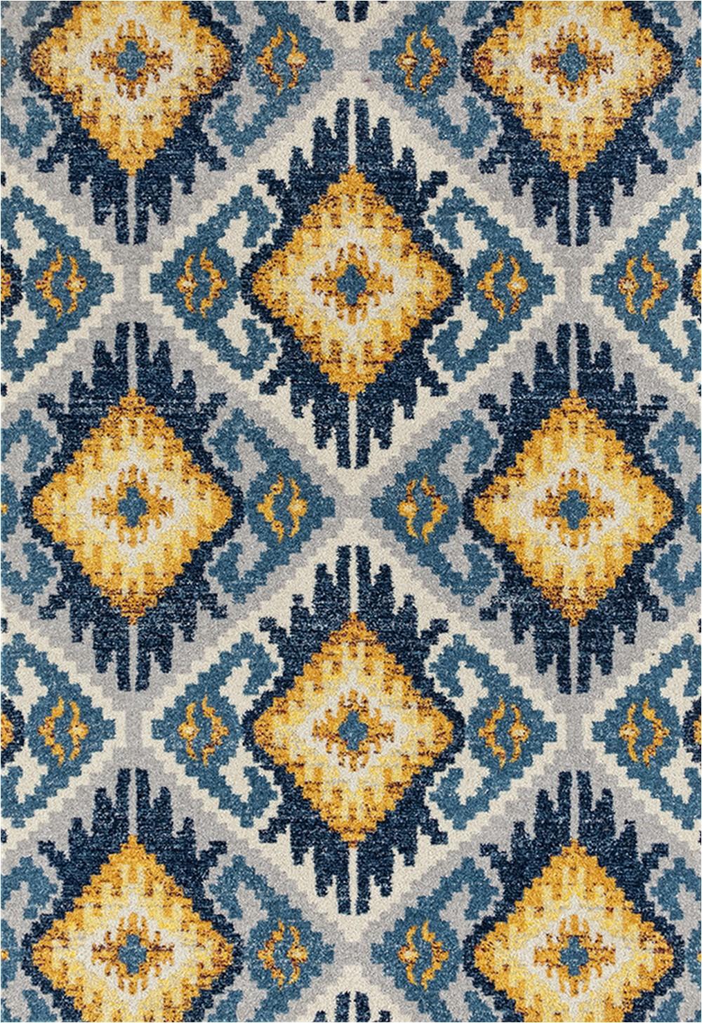 Diamond Scroll Blue Rug Designer Home Niragia area Rug 713 Tinley Midnight