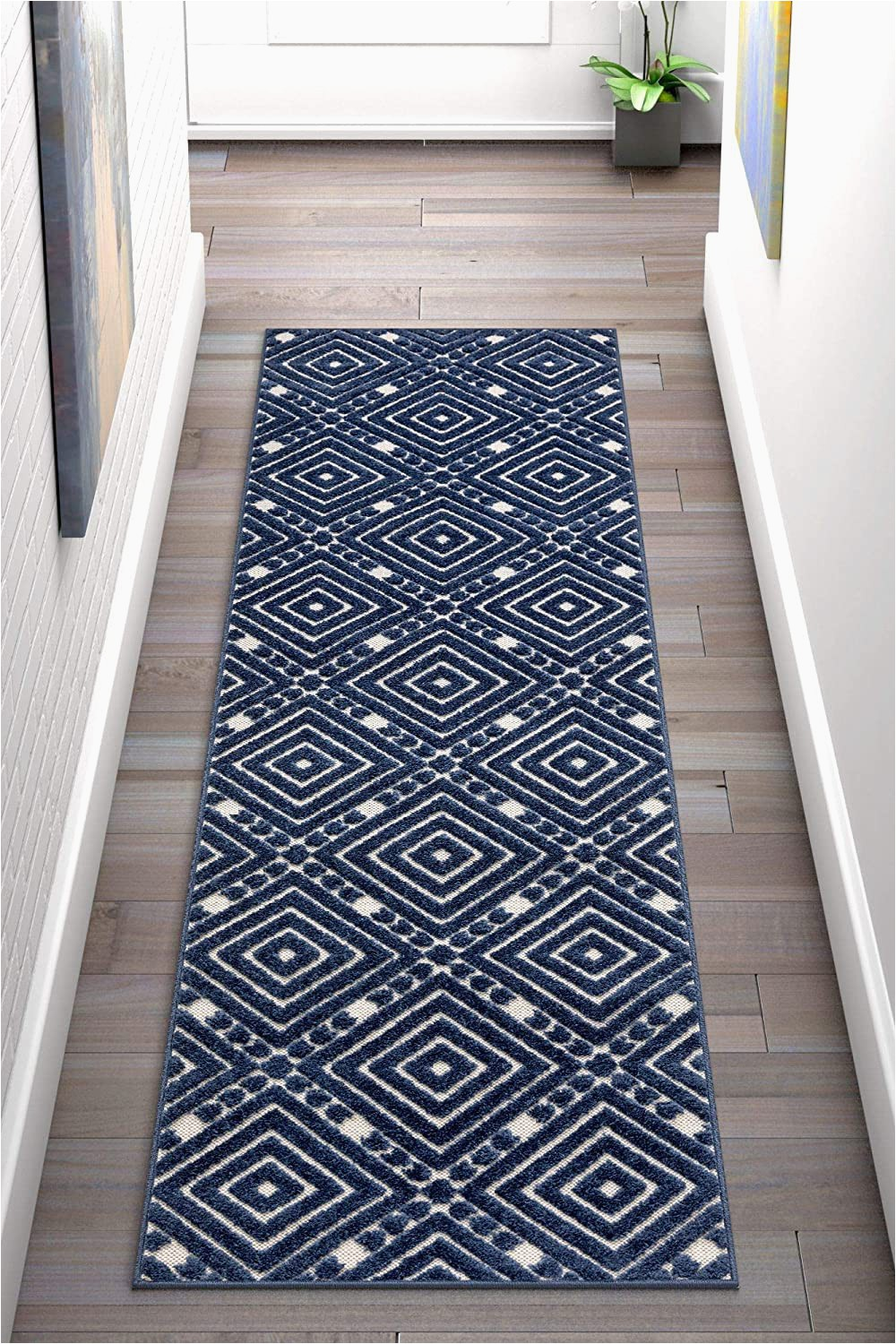"""Does Marshalls Sell area Rugs Well Woven Cannes Blue Indoor Outdoor Diamond area Rug 2×7 2 3"""" X 7 3"""" Runner High Traffic Stain Resistant Traditional Geometric Carpet"""