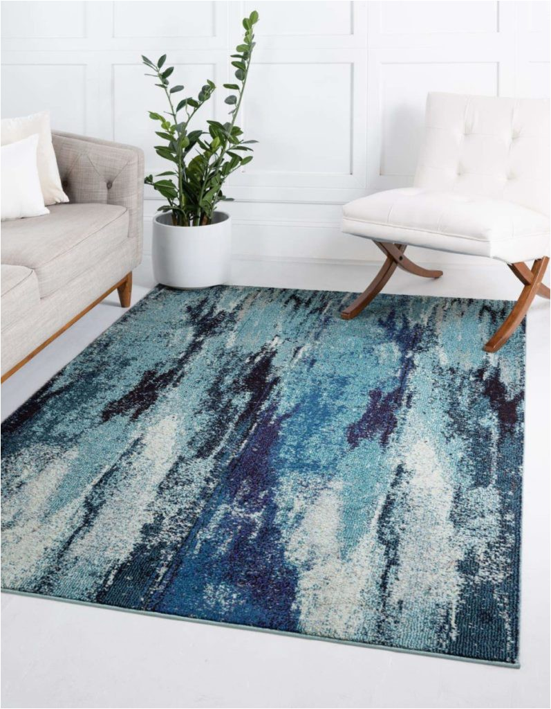 3 Unique Loom Jardin Collection Vibrant Abstract Blue Area Rug 797x1024