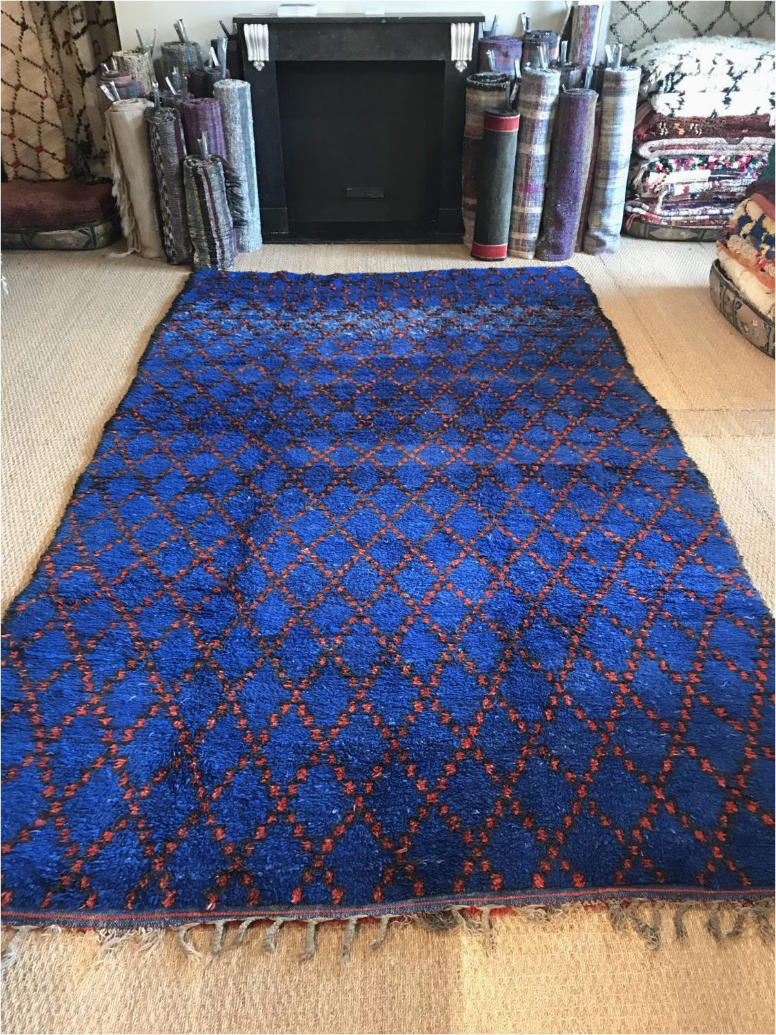 Extra Large Blue Rugs Vintage Moroccan Pile Rug Cobalt Blue Hand Woven 1970s Wool Rug Geometric Red Diamond Design