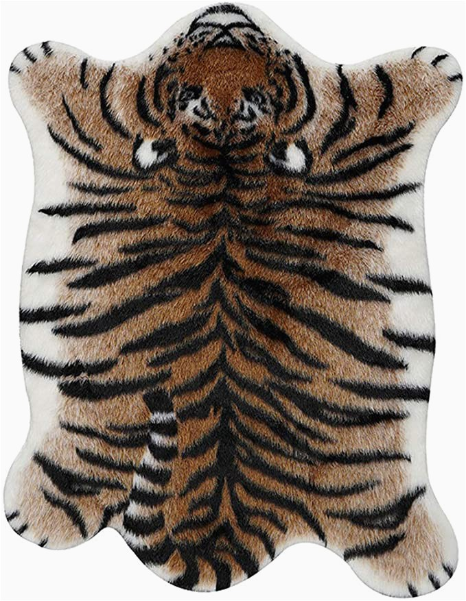 Faux Animal Skin area Rugs Amazon Tiger Print Rug 7 2 X5 7 Faux Cowhide Skin Fur