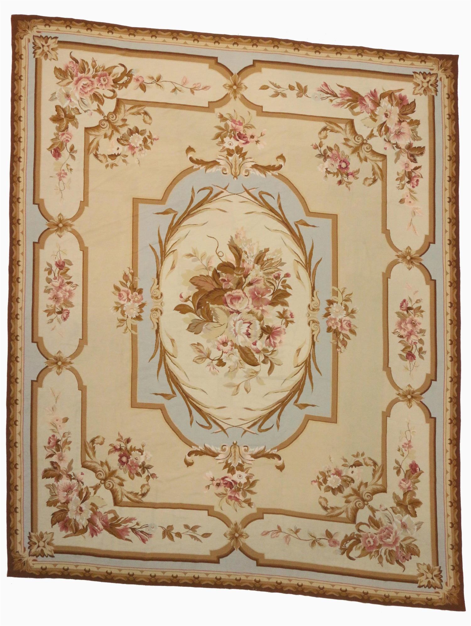 French Country Style area Rugs Vintage Chinese Needlepoint Rug with Aubusson Design and French Provincial Style