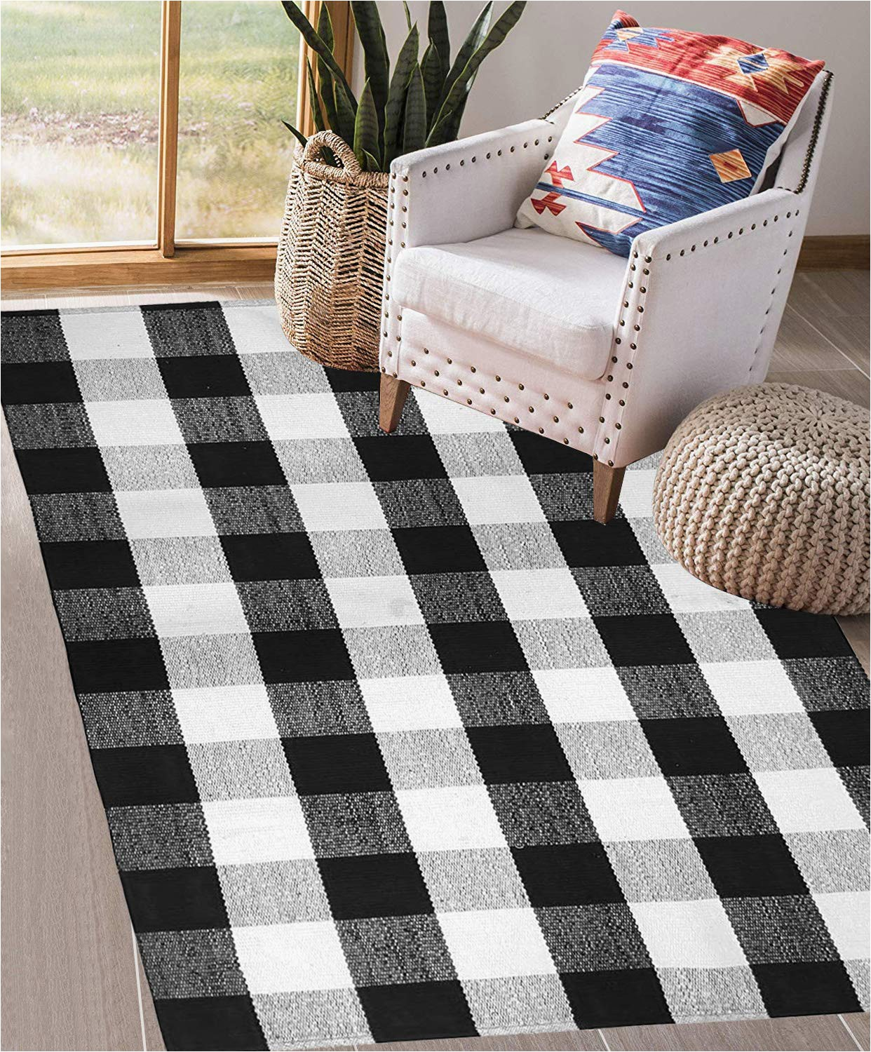 earthall cotton buffalo plaid check rug 3 x 5 black and white area rug hand woven kitchen frontdoor living room laundry room bathroom bedroom washable retro lattice checkered carpet 35 4 x 59