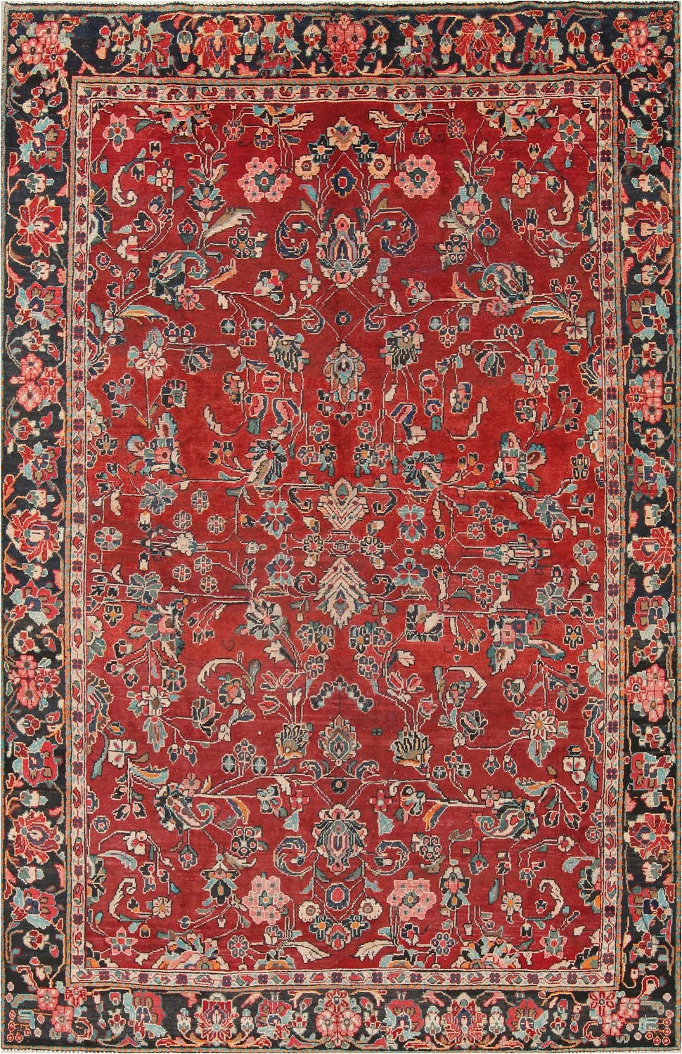 Hand Knotted Persian area Rug Antique All Over Floral Red Mahal Persian Hand Knotted 7×11