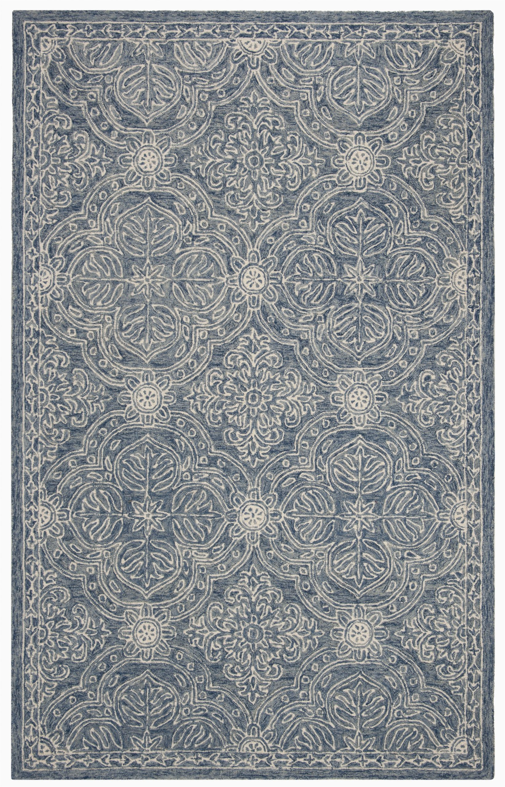 etienne hand tufted wool blueivory area rug