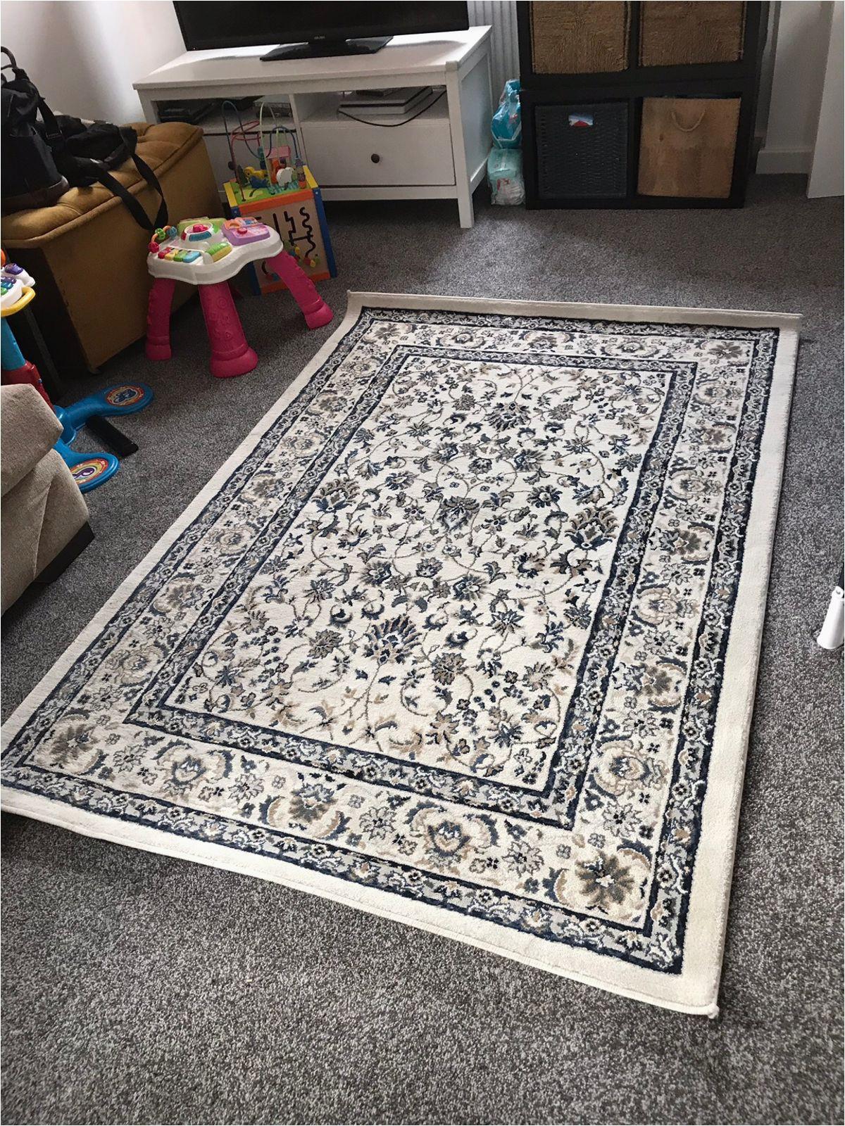 ikea valloby rug 4 4 x 6 5 blue beige used