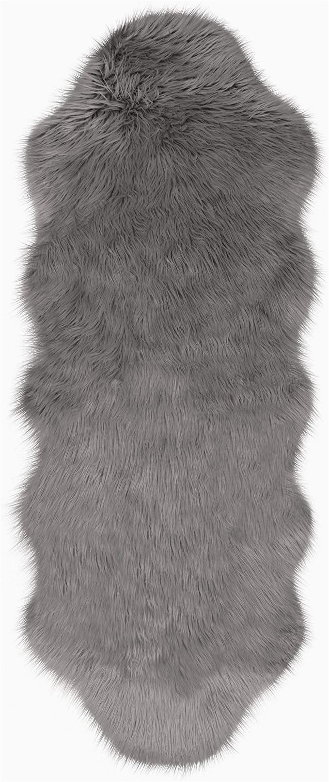 Jean Pierre New York area Rugs Jean Pierre Faux Fur 22 X 60 In Runner area Rug Dark Grey