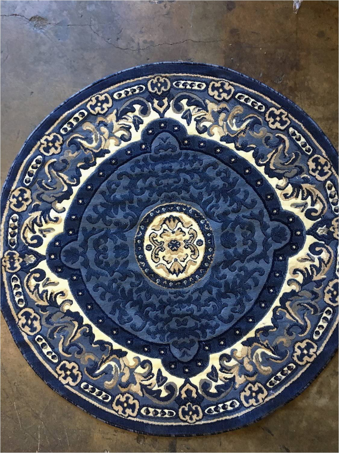 Large Round Blue Rug Carpet King Americana Traditional Round oriental Persian area Rug Blue Beige Design 101 7 Feet 3 Inch X 7 Feet 3 Inch