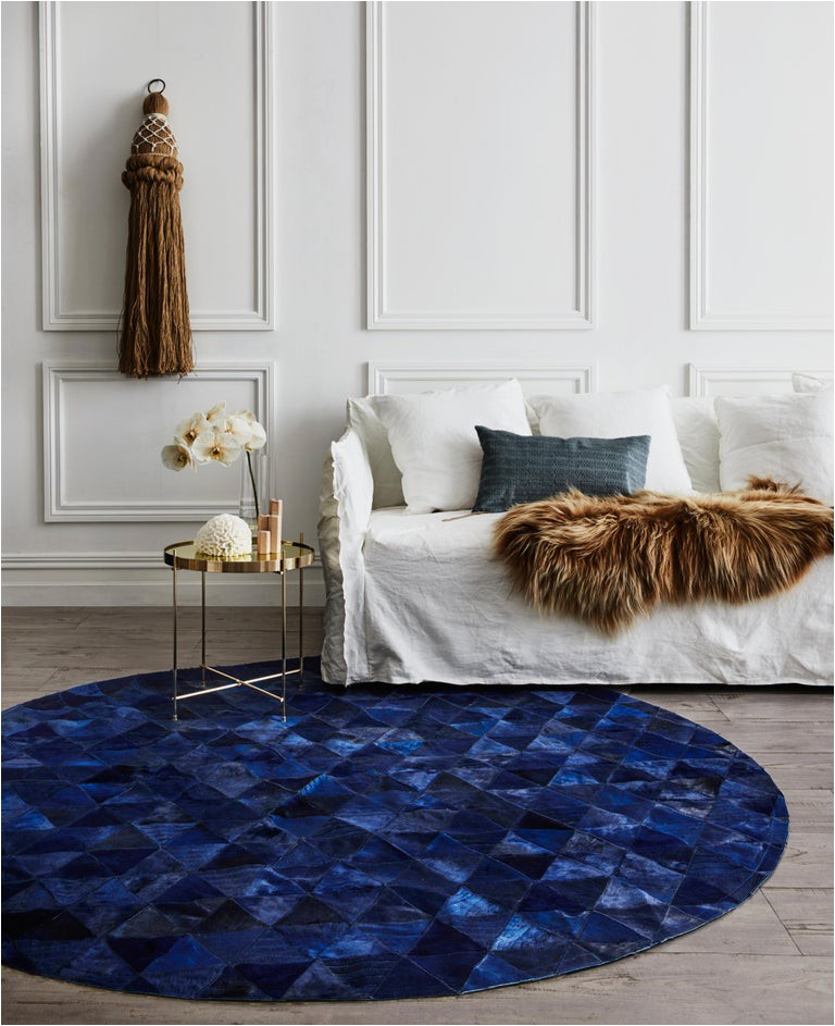 Large Round Blue Rug Dark Blue Round Customizable Trilogia Cowhide Rug