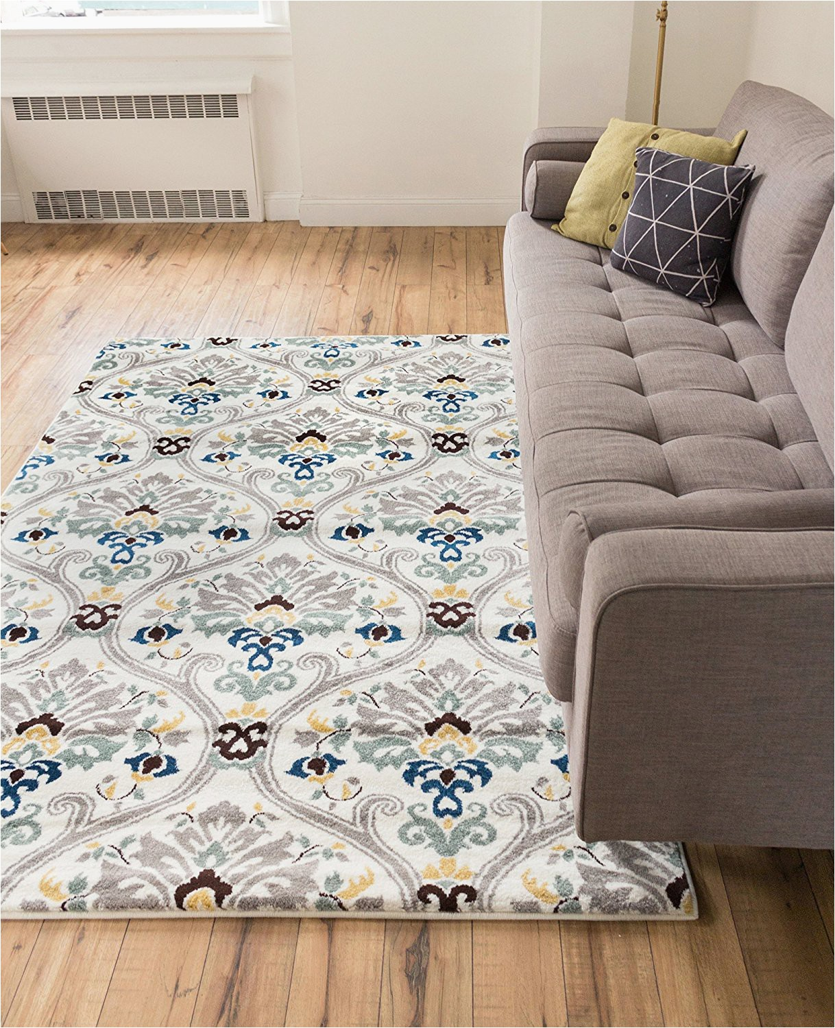 """Light Gray area Rug 5×7 Ogee Waves Lattice Grey Gold Blue Ivory Floral area Rug 5×7 5 3"""" X 7 3"""" Modern oriental Geometric soft Pile Contemporary Carpet Thick Plush Stain"""