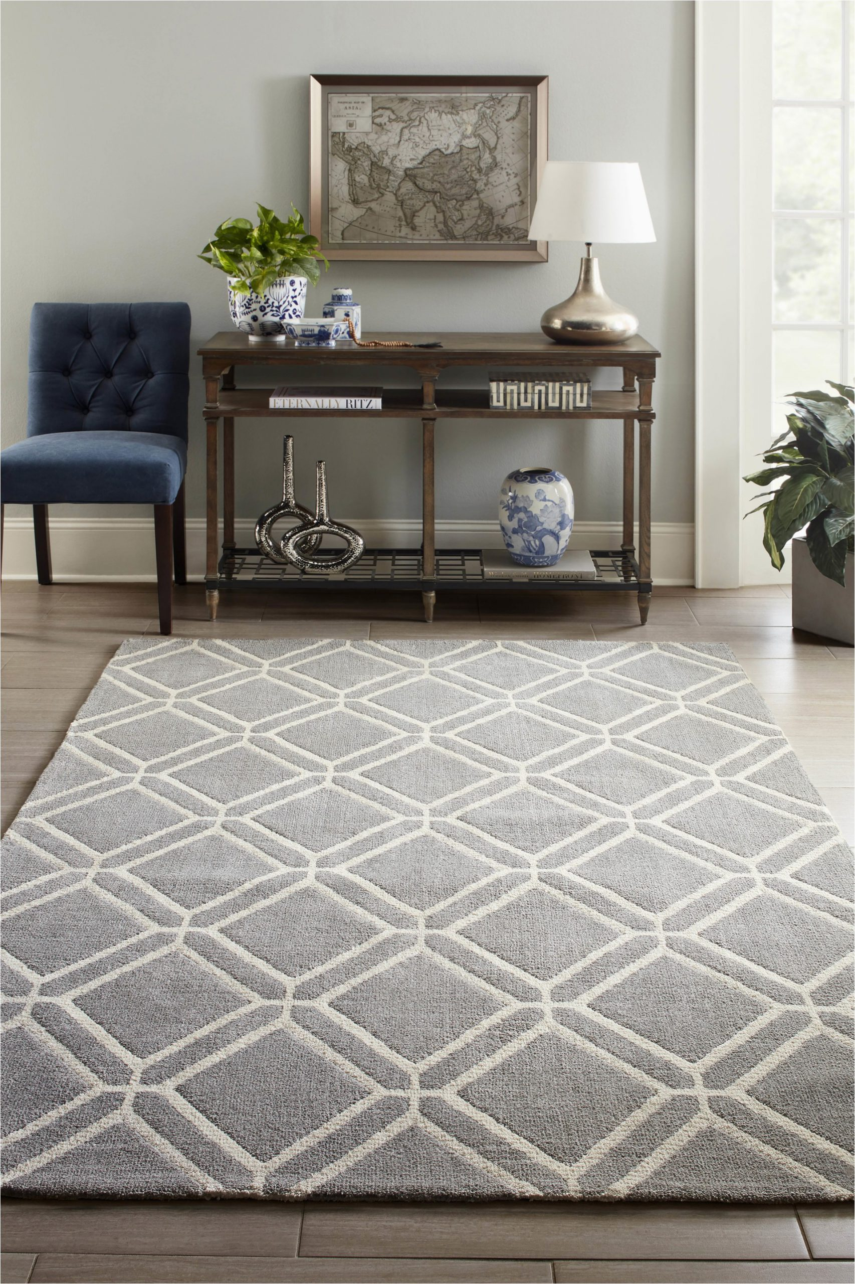 Lowes Allen Roth area Rugs Allen Roth Shae 8 X 10 Grey Indoor Geometric Mid Century Modern area Rug