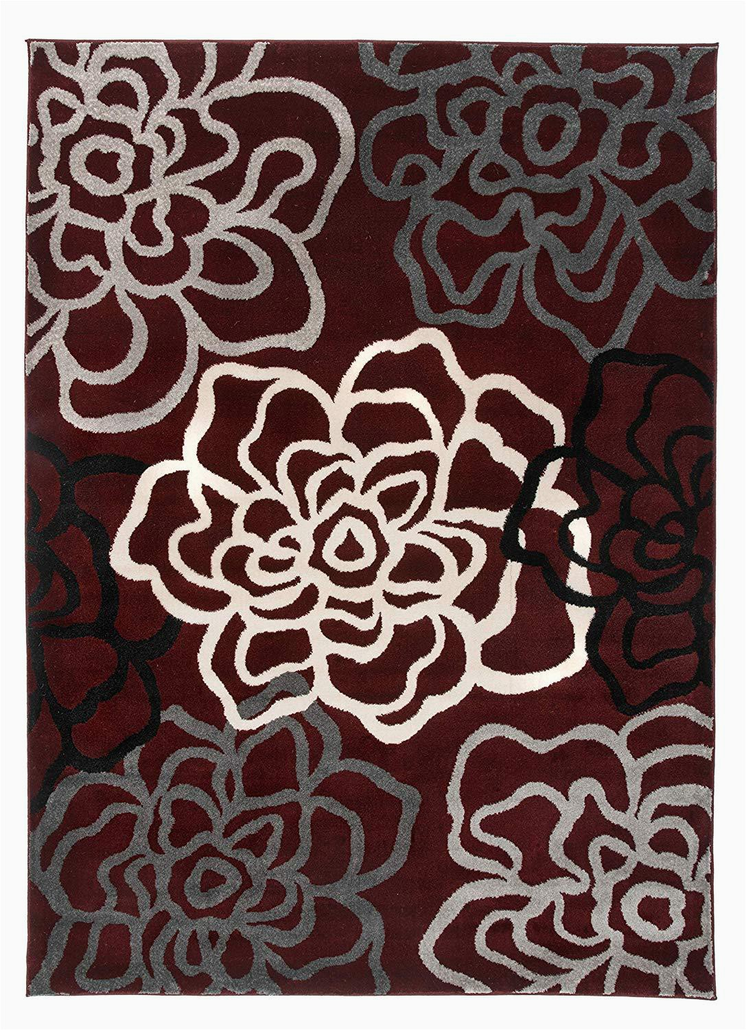 Maroon and Gray area Rugs Floral Gray Grey Burgundy White area Rug – Modern Rugs and Decor