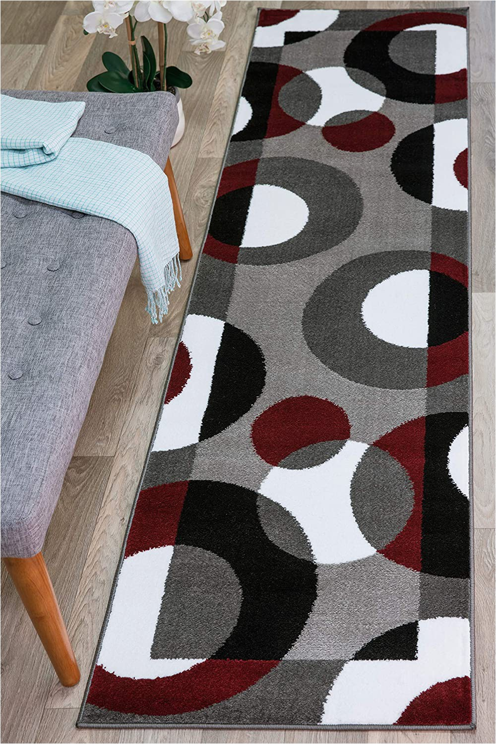 """Maroon and Gray area Rugs Rugshop Modern Circles area Rug Runner 2 X 7 2"""" Burgundy"""
