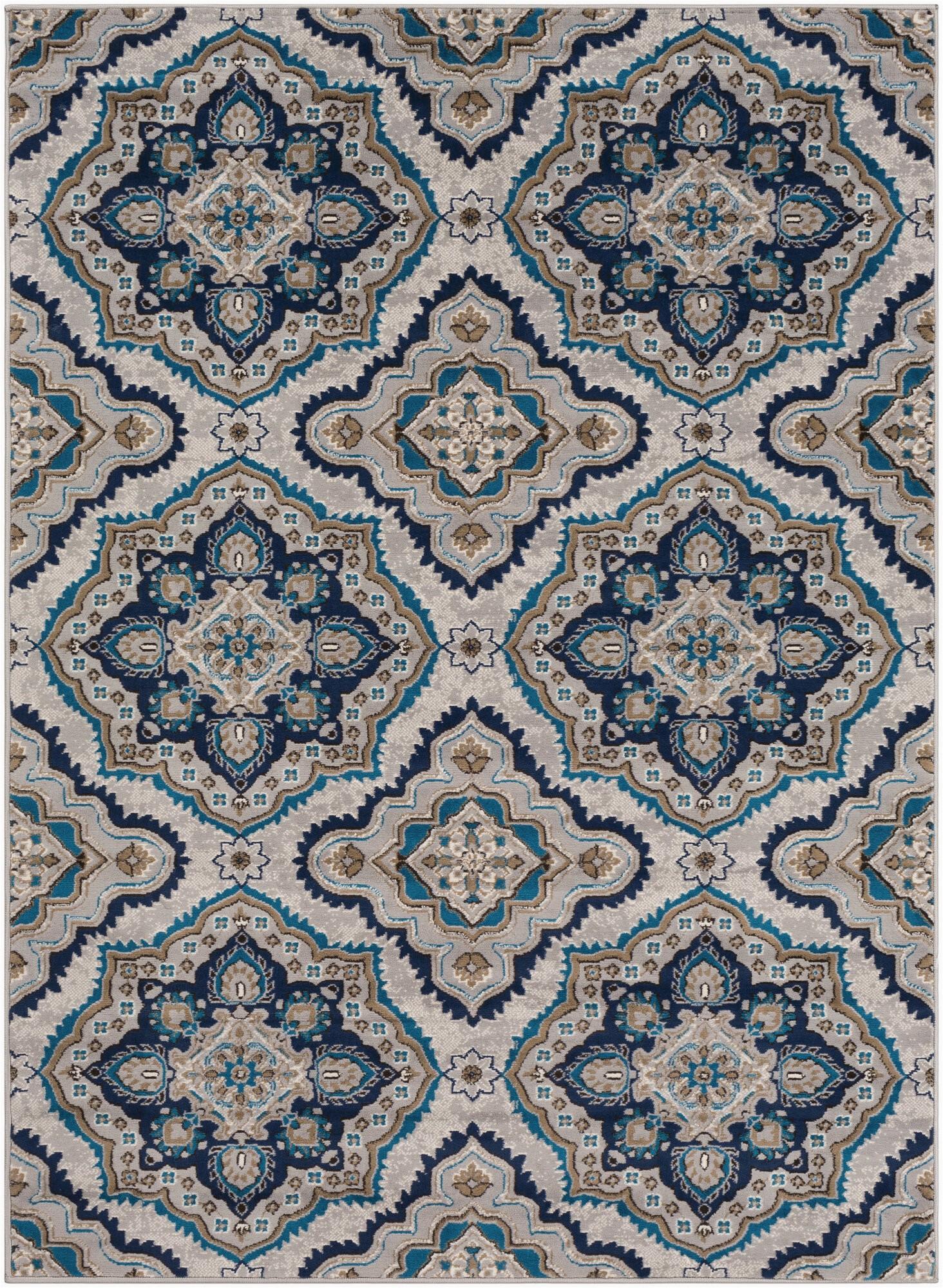 kent modern medallion taupesky blue area rug