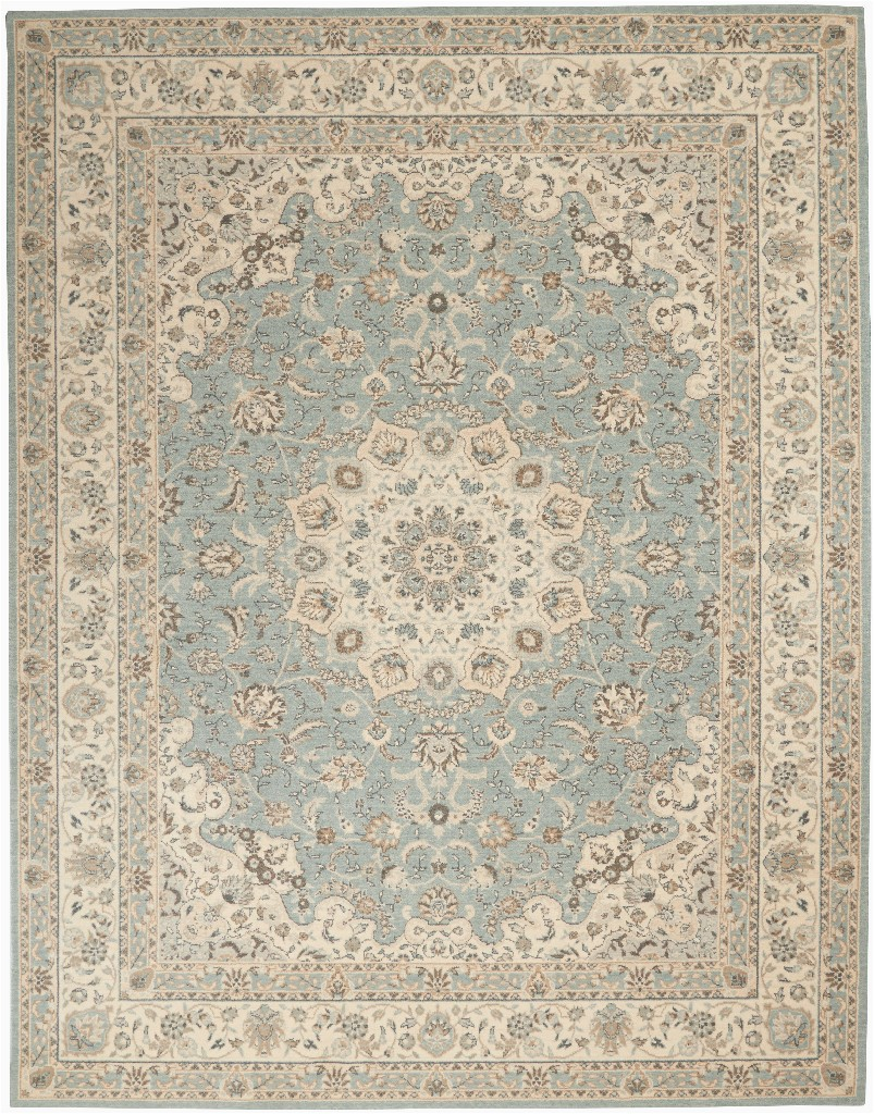 nourison living treasures 8 x 10 aqua and ivory area rug nourison li15