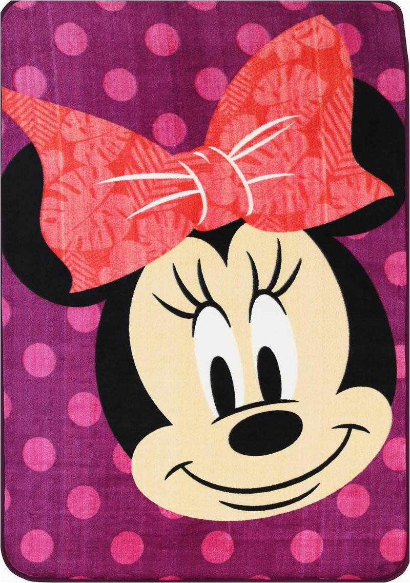 Mickey and Minnie Mouse area Rug Non Slip Purple Kids Disney Mickey Minnie Mouse Smiling Polka Dot area Rug Baby Play Mat