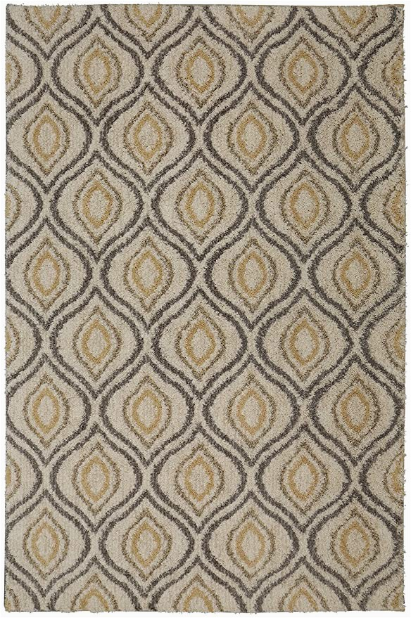 Mohawk Home area Rug 5×7 Mohawk Home Laguna Ogee Waters Tan Geometric Contemporary Shag area Rug 5 X 8 Tan and Grey