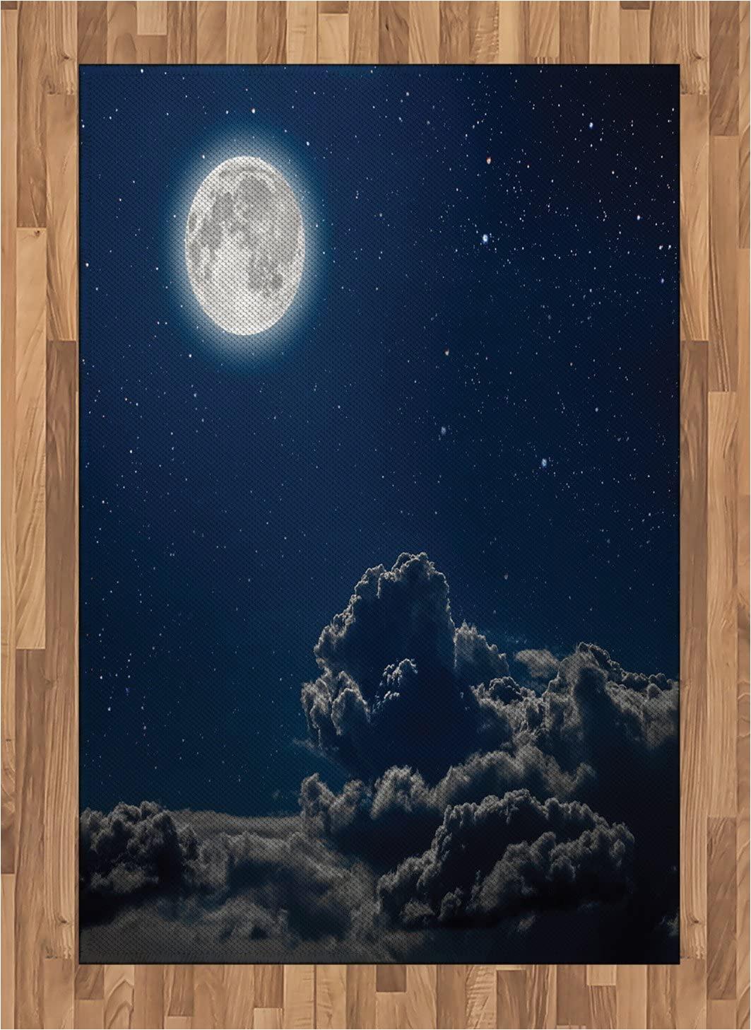 Moon and Stars area Rug Amazon Ambesonne Galaxy area Rug Moon and Stars In