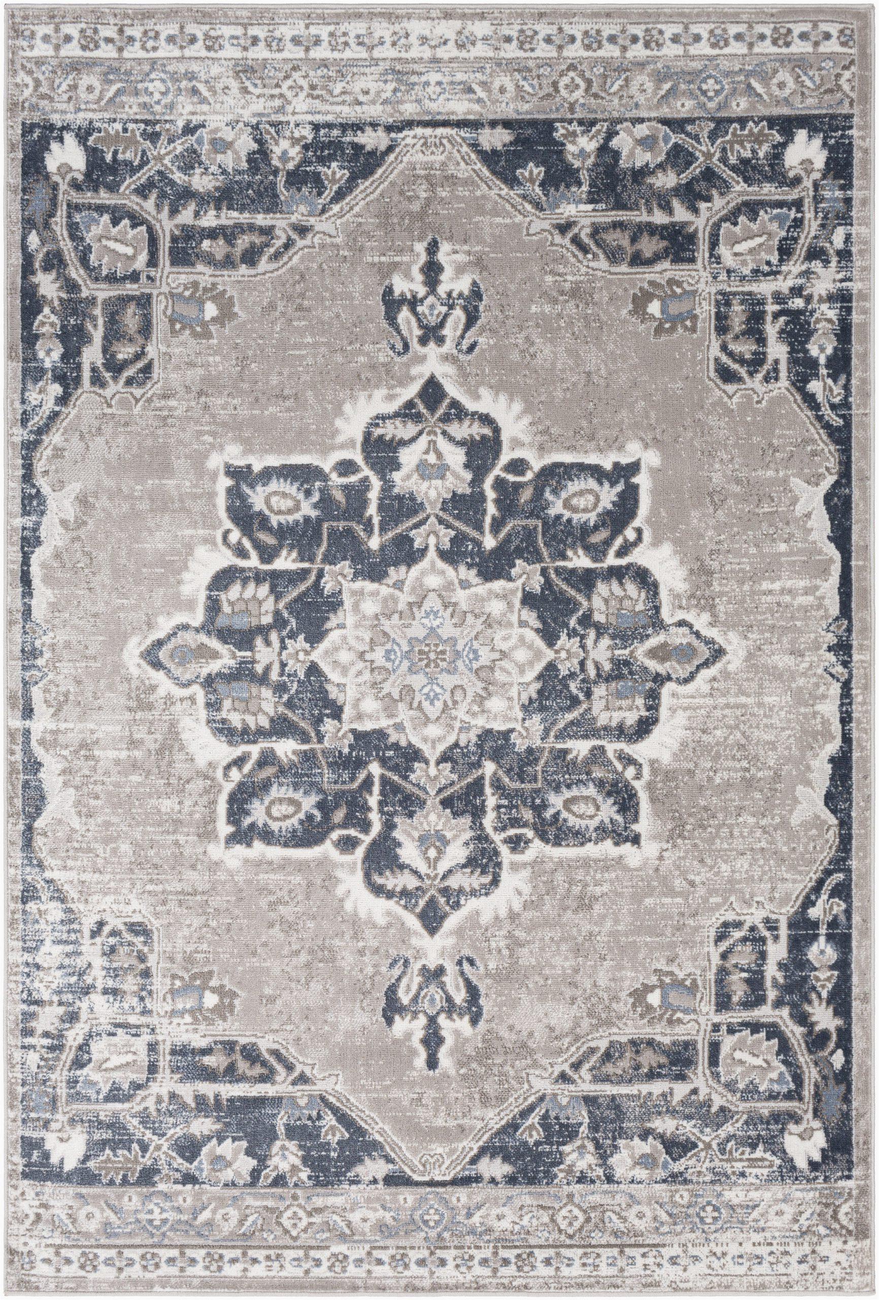 acadian oriental navytaupe area rug