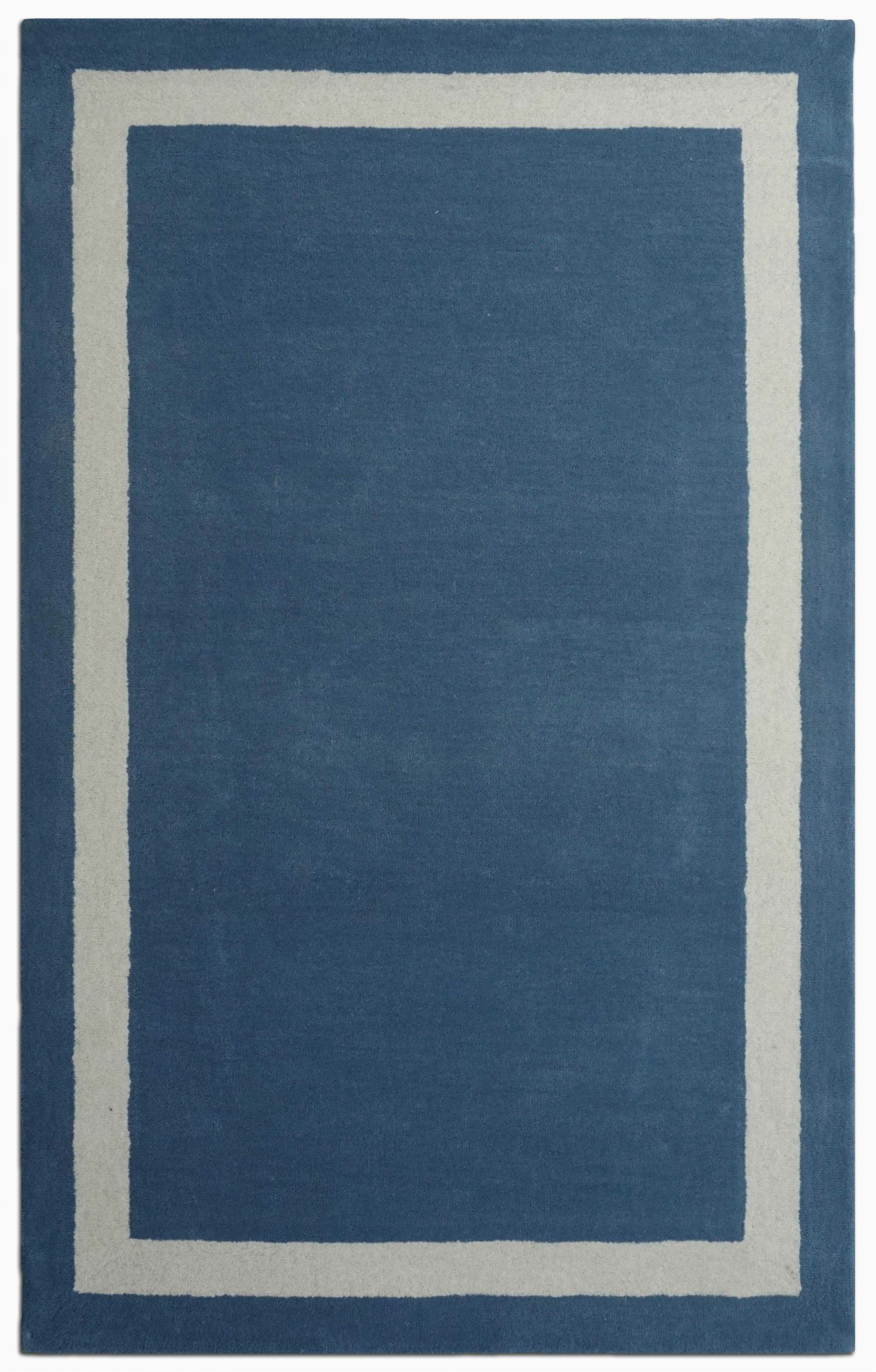 Navy Blue Border Rug Harlem Border Hand Tufted Wool Navy Blue White area Rug