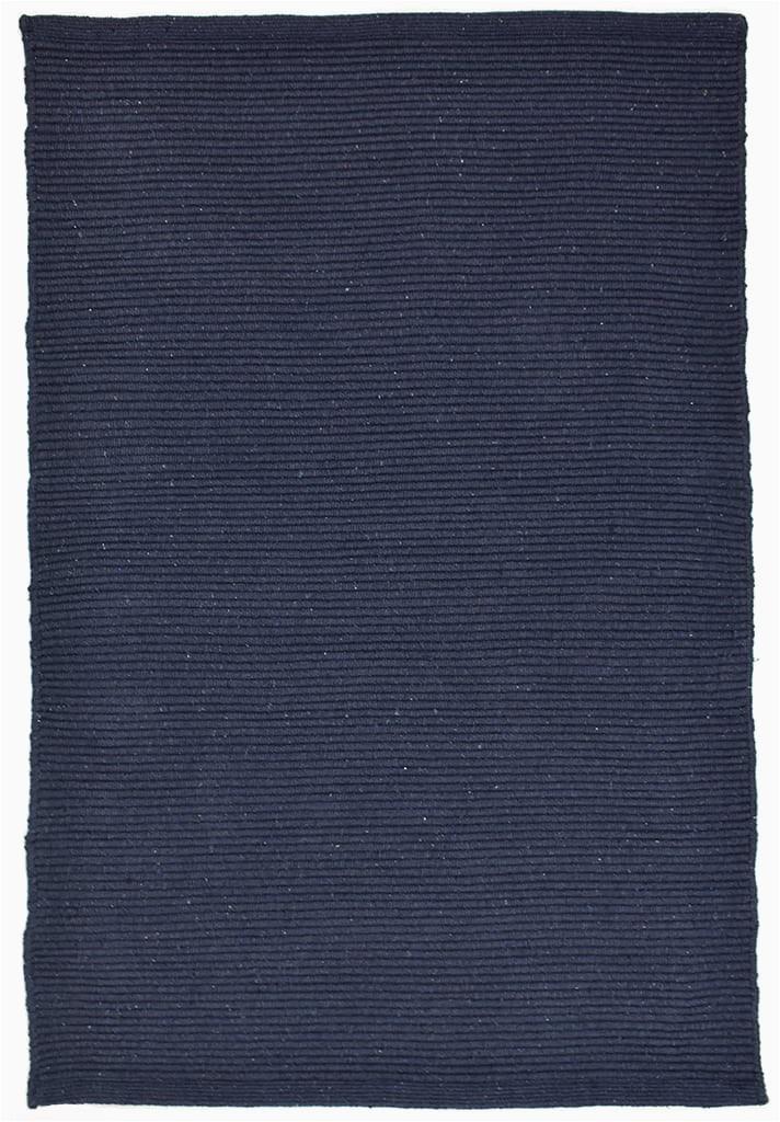 Navy Blue Braided Rugs solid Navy Blue Flatweave Eco Cotton Rug Hook & Loom