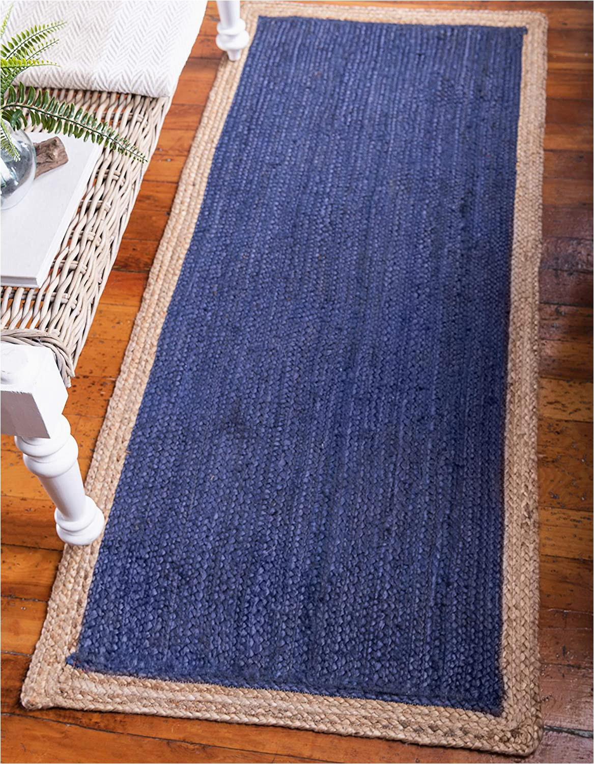Navy Blue Braided Rugs Unique Loom Braided Jute Collection Hand Woven Natural Fibers Navy Blue Runner Rug 2 6 X 6 0